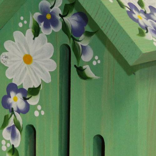 Hand-painted &lsquoGreen Butterfly House with Daisies (Close Up)
